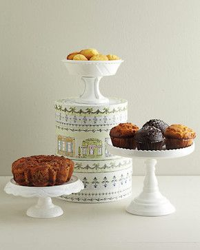 White Pedestals and Bowl - Contemporary - Serving Utensils - Garnet Hill