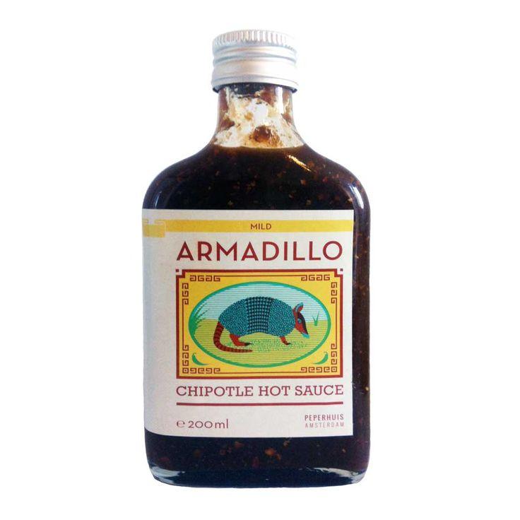Peperhuis Armadillo Chipotle Hot Sauce 200ml Gemaakt in Amsterdam met een uitgesproken mexicaanse smaak. Typische rokerige chipotle smaak, zoet en mild.