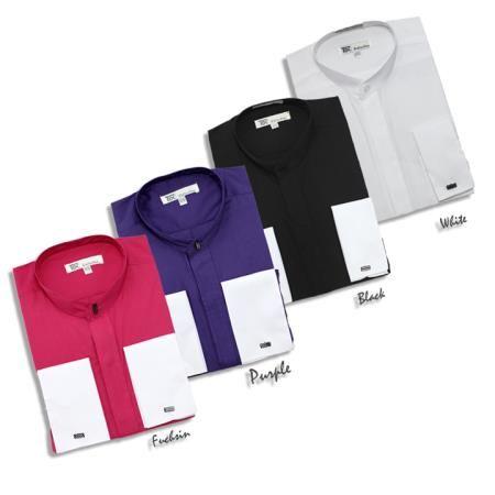 Camisa de Etiqueta de Cuello de Mandarín de Puño de francés de Botón Escondida de Moda Masculina 65 dólares
