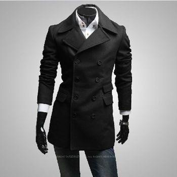m-378 2013 nieuwe hete verkoop heren double knoop korte zwarte jas jas