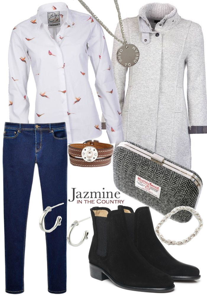 {Formal Outfits For The Country Girl - Outfit 4}  Jumper - Barbour Shirt - Rydale Jeans - Joules Boots - Fairfax & Favor Clutch - Kaye Hannabuss Necklace - Stanley & Maud Bracelet (Leather) - Hiho Silver Bracelet (Chain) - Hiho Silver Earrings - Sylvia Kerr