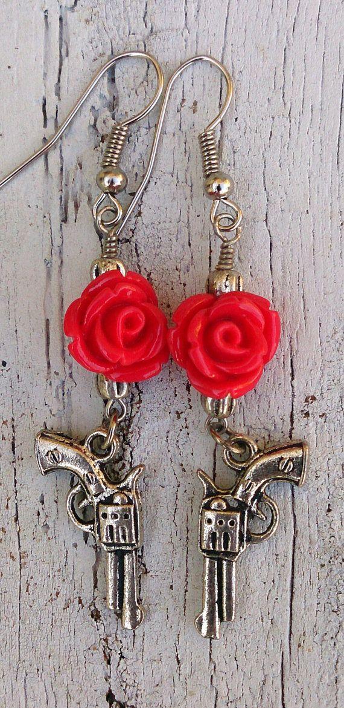 Red Rose Pistol Gun Earrings by Secret Stash Boutique Great Stocking Stuffer only $9.99 www.etsy.com/shop/secretstashboutique