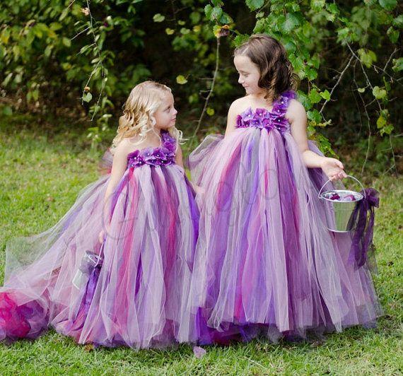Purple pearl flower girl tutu dress purple tutu dress by Gurliglam, $92.00  But in our colors...?