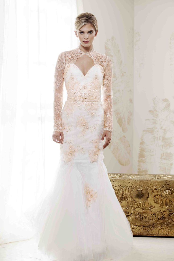 "V. SOUZ ""Grace Kelly"" dress.    Illusion beaded lace mermaid dress."