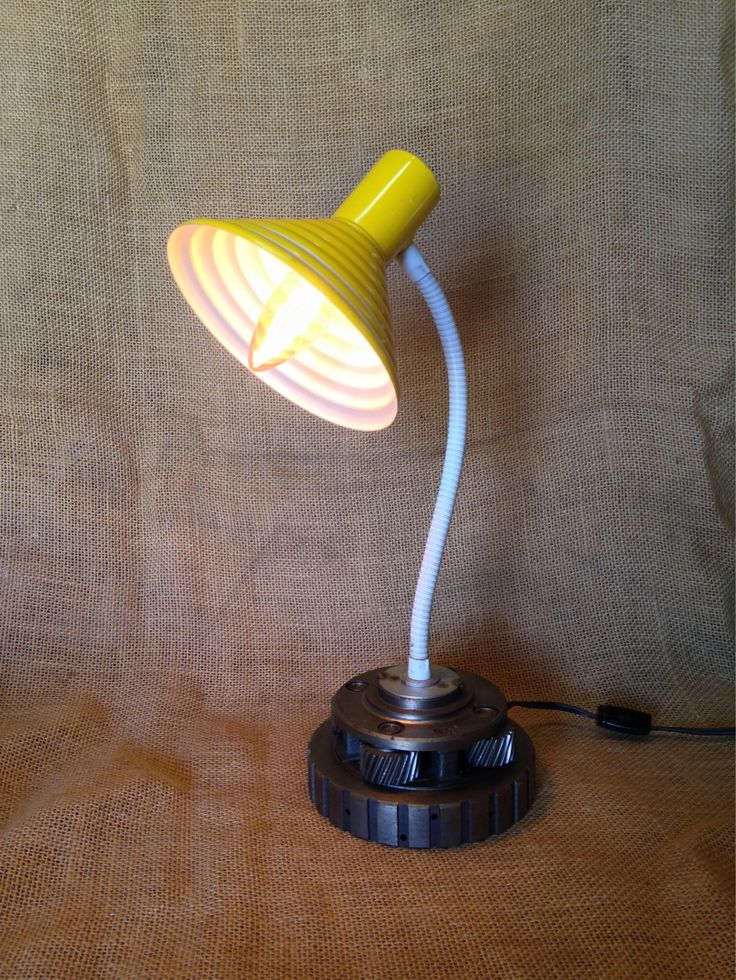 A personal favorite from my Etsy shop https://www.etsy.com/listing/527735736/mellow-yellow-desk-lamp-upcycled-auto