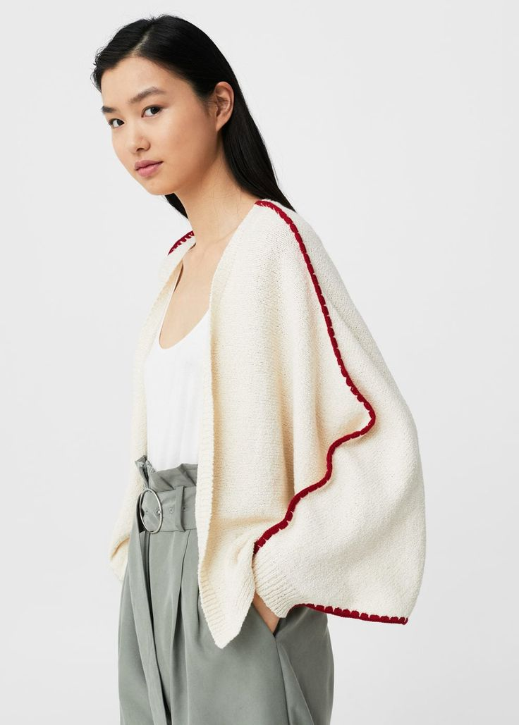 Contrast-trim cotton cardigan -  Women | MANGO USA