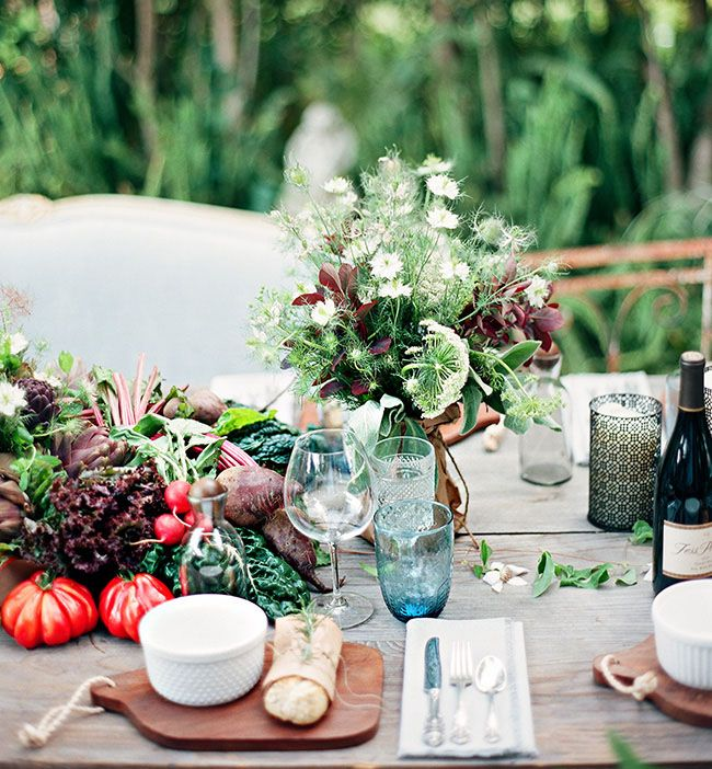 our Farm-to-Table Wedding Inspiration herbs w/ heirloom table scape as featured on Green Wedding Shoes blog by PANACEA event floral design www.panaceaflowery.com