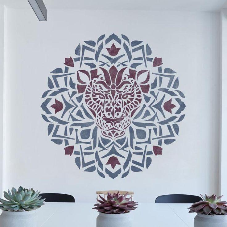 Decorative Lion Stencil - Medallion Stencil - Unique Design Stencil - Mandala-style Stencil - Zendala - Zentangle Design