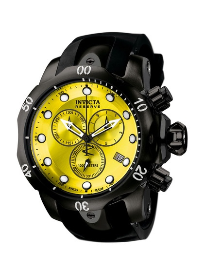 Men's Venom Round Black & Yellow Watch by Invicta Watches