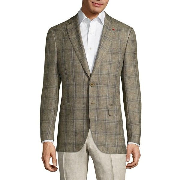 ISAIA Giacca Wool Plaid Jacket (€2.840) ❤ liked on Polyvore featuring men's fashion, men's clothing, men's outerwear, men's jackets, mens wool jacket, mens plaid jacket, mens plaid wool jacket and mens jackets