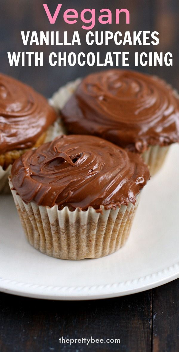 Vegan Yellow Cupcakes With Chocolate Frosting The Pretty Bee Recipe In 2020 Vegan Vanilla Cupcakes Cupcake Recipes Nut Free Desserts