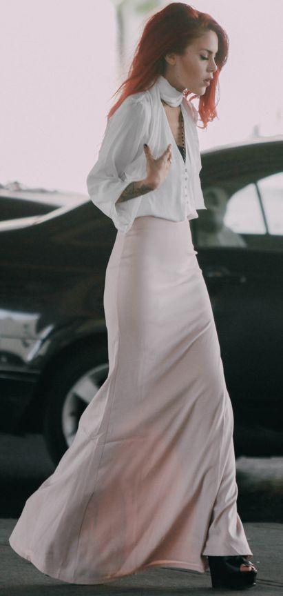 Peachy Maxi Skirt Fall Streetstyle Inspo by Le Happy