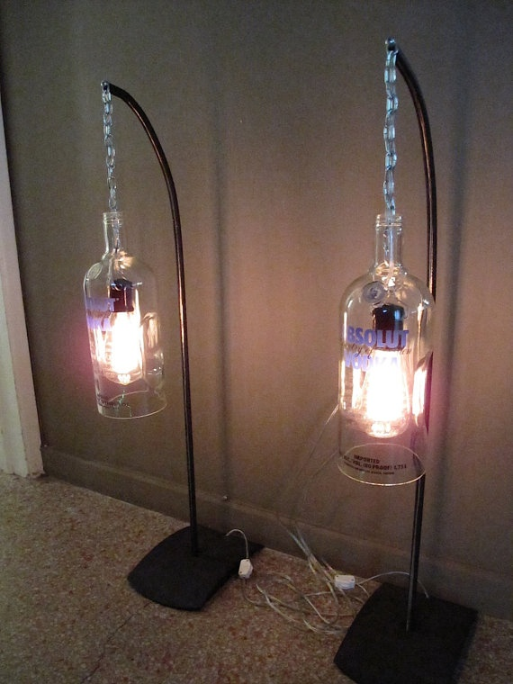 Absolut Lamp Set Bottle Lights by BottleCycle on Etsy, $175.00