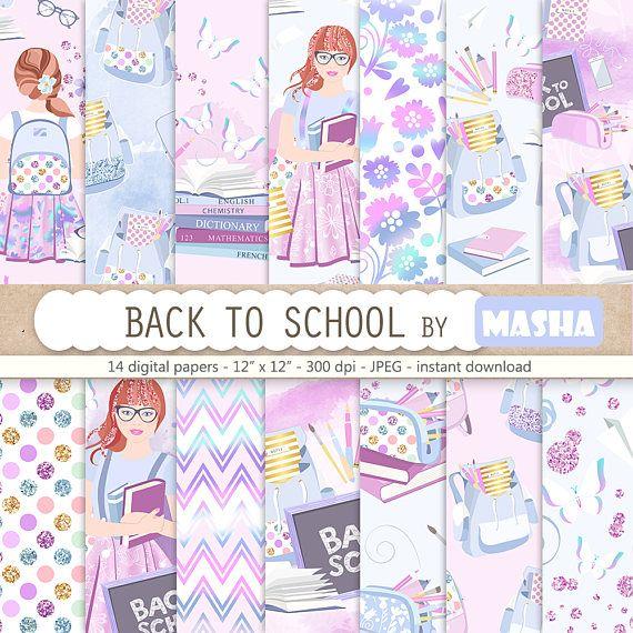 Back to School Digital Paper School Paper Pack Hologlam #school #digital #paper #planner #paper #books #black #board #teenager #fashion #illustration #cover #sticker #supplies #pencil #case #scholar #watercolor #masha #studio #creative #market #etsy #shop #scrapbook #diy #purple #gold #glitter