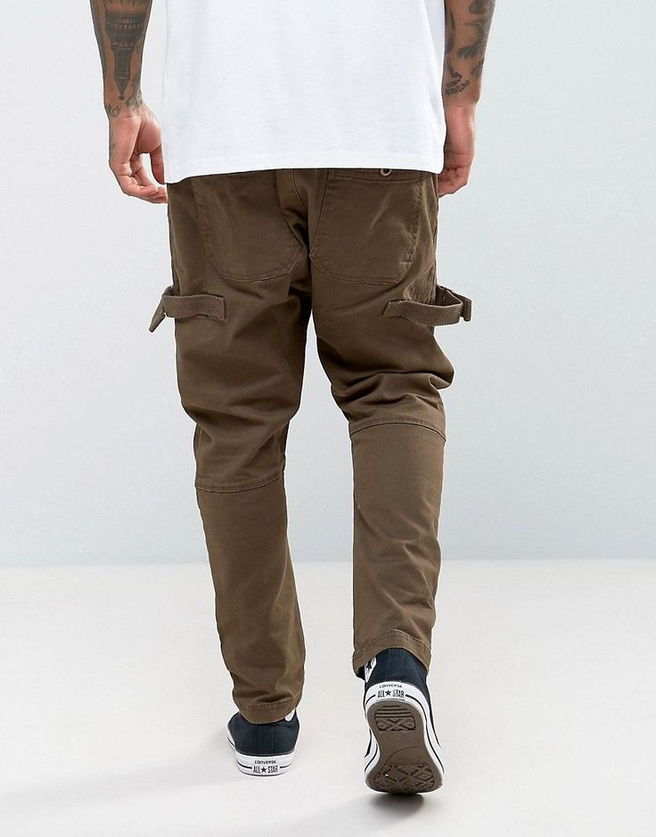 ASOS Drop Crotch Joggers With Taping In Brown - Brown