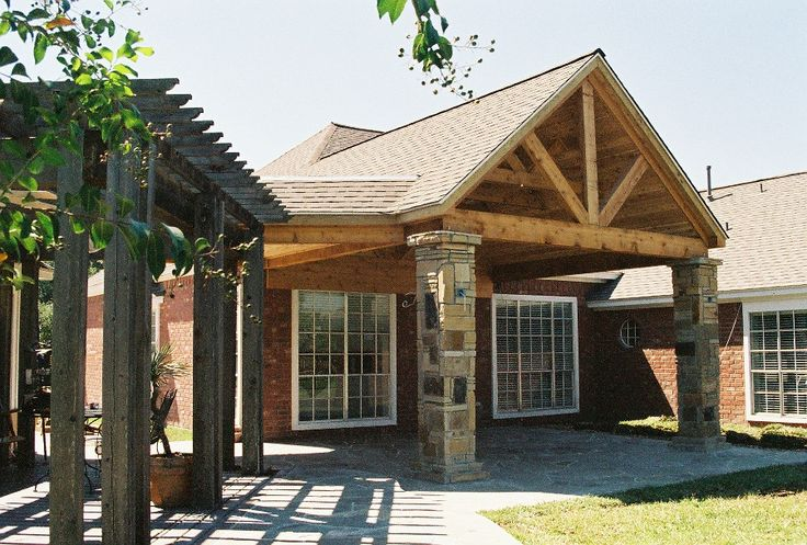 Custom Pergola And Rustic Patio Cover In Houston With Ledgestone Columns Patio Covers