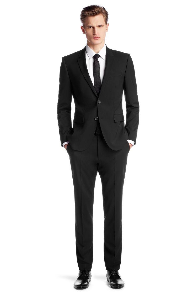 Soldes HUGO Costume Slim Fit « Aeron1/Hamen1 » en laine vierge mélangée Noir prix promo Soldes Hugo Boss 469.00 € TTC au lieu de 675 €
