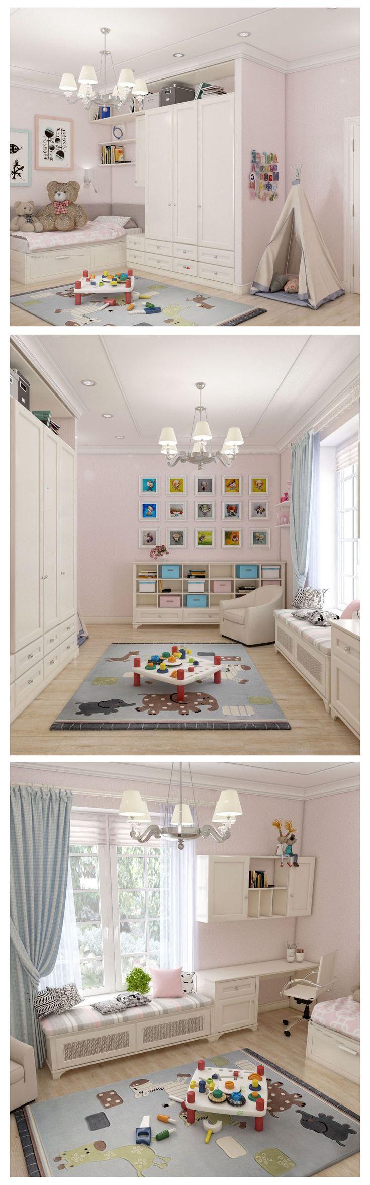 Children's room, детская комната для девочки, сочетание розовых и голубых оттенков, американский стиль