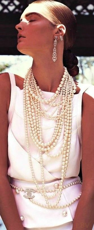 Chanel Cruise 2014 -- Okay, so the earrings are a bit much! Love the layers. www.tanyalochridge.com
