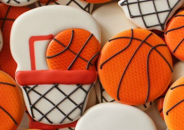 Decorated Basketball Goal Cookie using skull and snowman cookie cutters