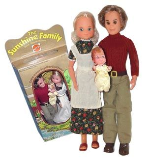I wasn't allowed to have Barbie, so got the Sunshine Family instead.  Gotta love that 70's style.