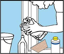 Χρησιμοποιήστε χλιαρό νερό και σαπούνι. Εάν θέλετε ακόμα καλύτερο αποτέλεσμα χρησιμοποιήστε στη θέση του σαπουνιού ένα από τα πολλά ειδικά προϊόντα καθαρισμού που υπάρχουν στην αγορά. Απλά προσέξτε τα προϊόντα αυτά να έχουν ph μεταξύ 5,5 και 8 (ούτε όξινα, ούτε αλκαλικά).