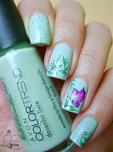 Green Floral Butterfly Water Decals Nail by BornPrettyNails from Nail Art Gallery