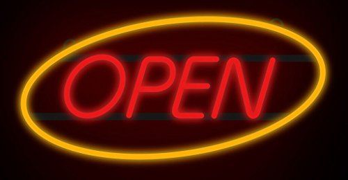 """ComeAlong Industries Red and Yellow Heavy Duty LED """"OPEN"""" Sign"""