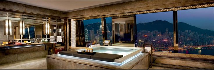 Seaside #bathtub by Teuco is the star of the suites of #RitzCarlton Hong Hong, the highest hotel in the world #design
