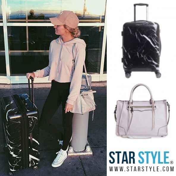 Lauren Bushnell with her Calpak luggage and Rebecca Minkoff bag  Shopping info at www.starstyle.com