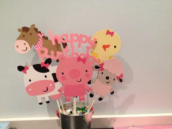 36 Girl Barnyard or Farm Themed Cupcake Toppers di MKScrapAndParty