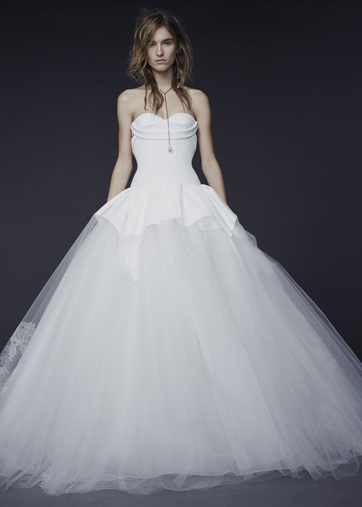 LOOK 5. Light ivory strapless silk crepe ball gown with architectural drape and hand appliqué chantilly lace at train