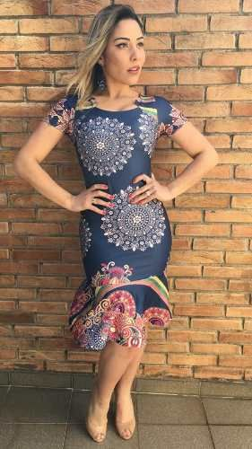 Vestido Babado Midi Moda Evangélica Secretaria Executiva - R$ 79,90