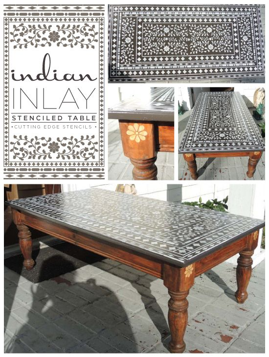 Gorgeous table stenciled with the Indian Inlay Stencil from Cutting Edge Stencils. http://www.cuttingedgestencils.com/indian-inlay-stencil-furniture.html