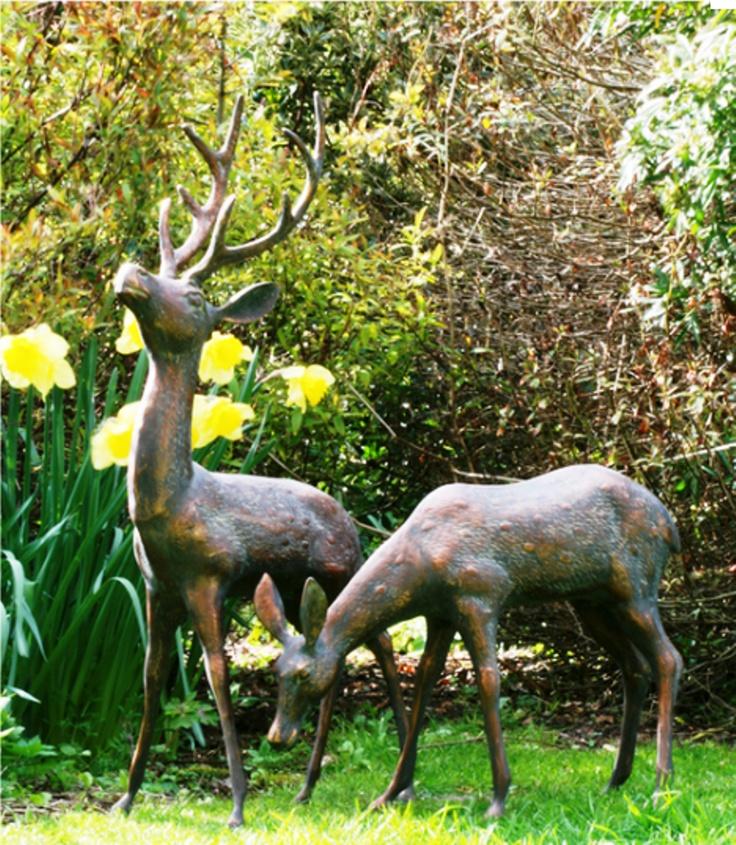 Pair Of Bronze Garden Deer Statues
