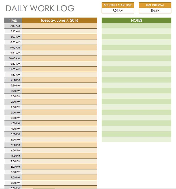 Daily Log Templates Word Free Daily Schedule Templates For Excel    Smartsheet