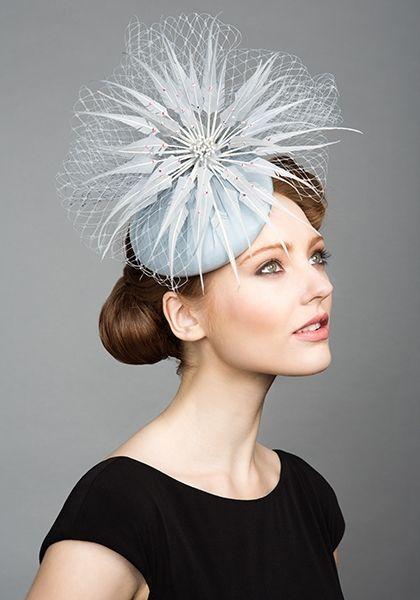 R1575 - Powder blue silk taffeta pillbox with diamante, feathers and veil   Spring/Summer 2015   Rachel Trevor Morgan