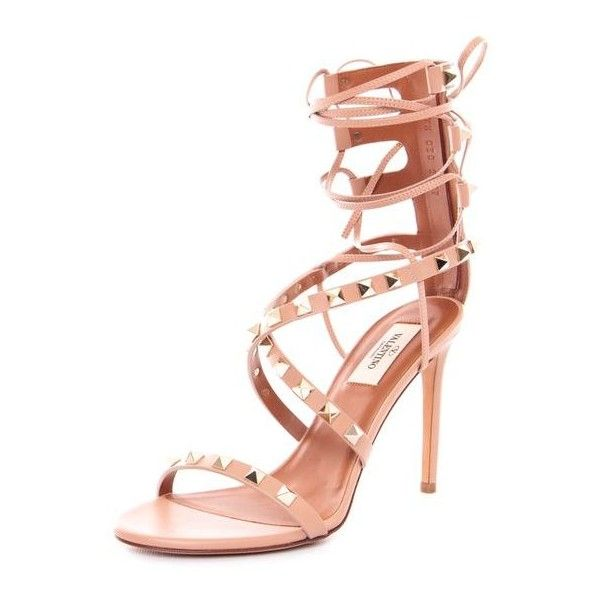 Pre-Owned Valentino Rolling Rockstud High-Heel Gladiator Pumps Nude... (€840) ❤ liked on Polyvore featuring shoes, sandals, neutral, strappy high heel sandals, strappy leather sandals, leather gladiator sandals, strap sandals and leather strap sandals