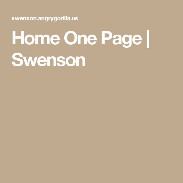 Home One Page | Swenson