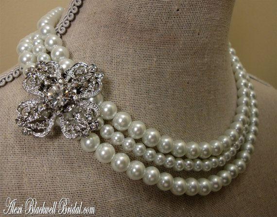 Bridesmaid Necklace Set Rhinestone Brooch by AlexiBlackwellBridal, $69.00