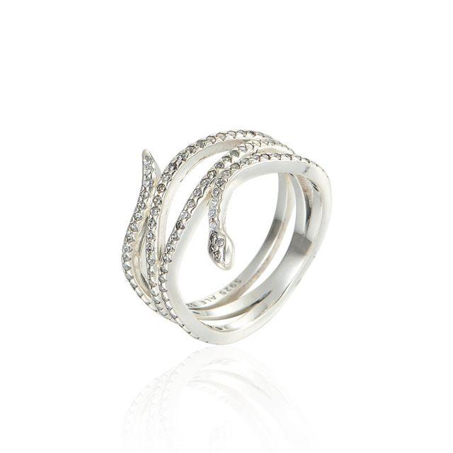 Змея кольцо 925 серебряное кольцо 2015 мода совместимость ювелирные изделия цветок белой эмалью серебряное кольцо для женщин бесплатная доставка
