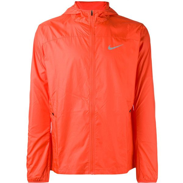 Nike - Shield Running jacket - men - Polyester - S ($80) ❤ liked on Polyvore featuring men's fashion, men's clothing, men's activewear, men's activewear jackets, orange and mens activewear