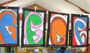 New Zealand - Maori Koru Designs, using chalk or oil pastels
