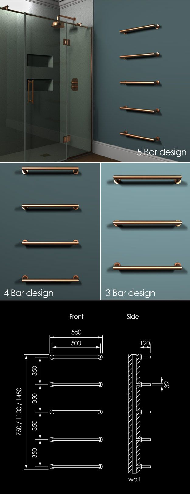 Floating Copper Towel Bar Radiator (58XCO)