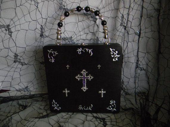 Purple Filigree Cross Goth Cigar Box Purse.