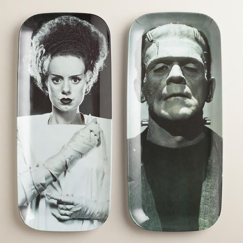 Frankenstein's Monster and Bride Platters at Cost Plus World Market >> #WorldMarket Halloween #HalloweenDecor #HalloweenEntertaining