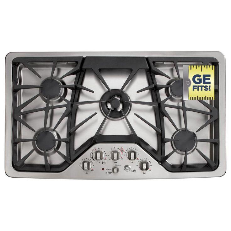 ge cafe 36 in deep recessed gas cooktop in stainless steel silver with 5 burners including triring burner