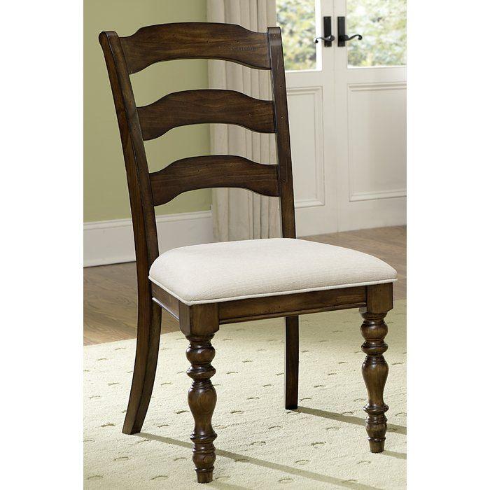Dalton Upholstered Ladder Back Side Chair | Solid wood ...