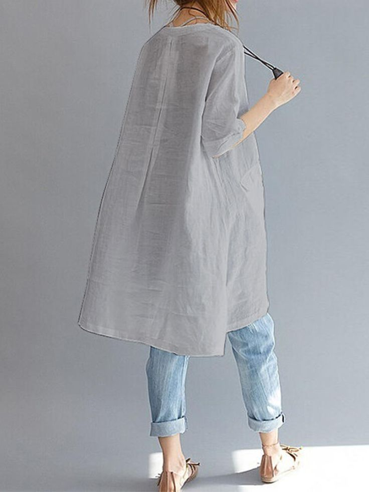 Women Short Sleeve Loose Solid Asymmetric Blouses at Banggood