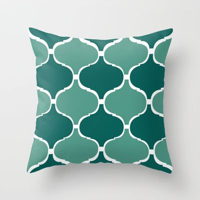 Marrakech Pattern Dark Green Throw Pillow by StickycakeInspirations - $20.00